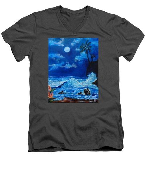 Moonlit Hawaiian Night Men's V-Neck T-Shirt by Jenny Lee