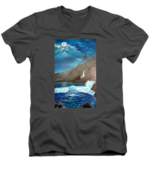Men's V-Neck T-Shirt featuring the painting Moonlit Wave by Jenny Lee