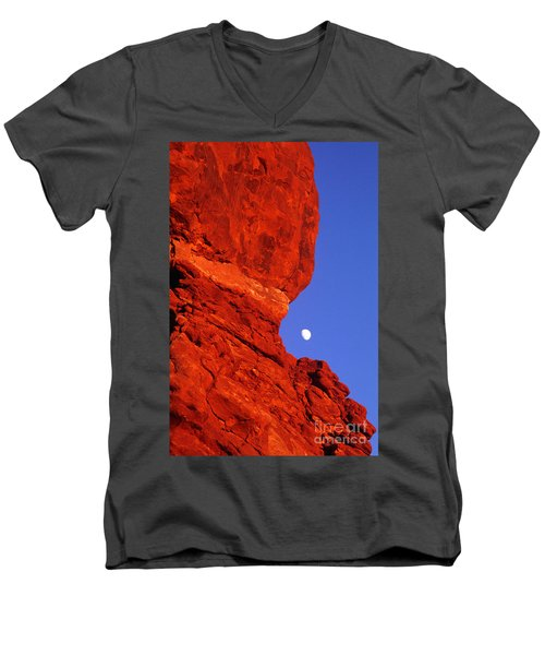 Men's V-Neck T-Shirt featuring the photograph Moonrise Balanced Rock Arches National Park Utah by Dave Welling