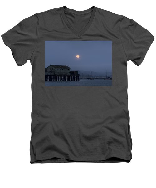Moonrise Over The Harbor Men's V-Neck T-Shirt