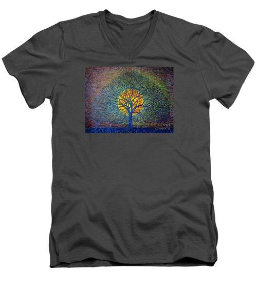 Men's V-Neck T-Shirt featuring the painting Moonshine by Viktor Lazarev