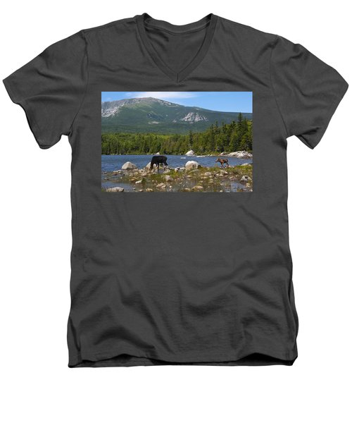 Moose Baxter State Park Maine Men's V-Neck T-Shirt