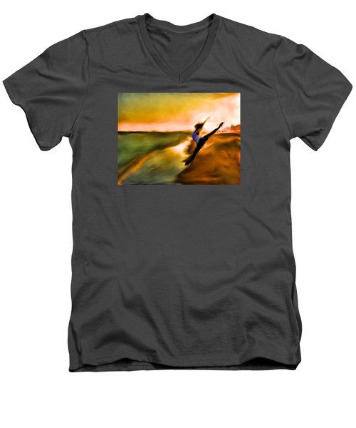Men's V-Neck T-Shirt featuring the mixed media Moose In Law by Terence Morrissey