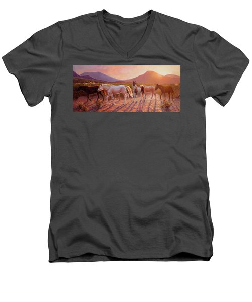 More Than Light Arizona Sunset And Wild Horses Men's V-Neck T-Shirt