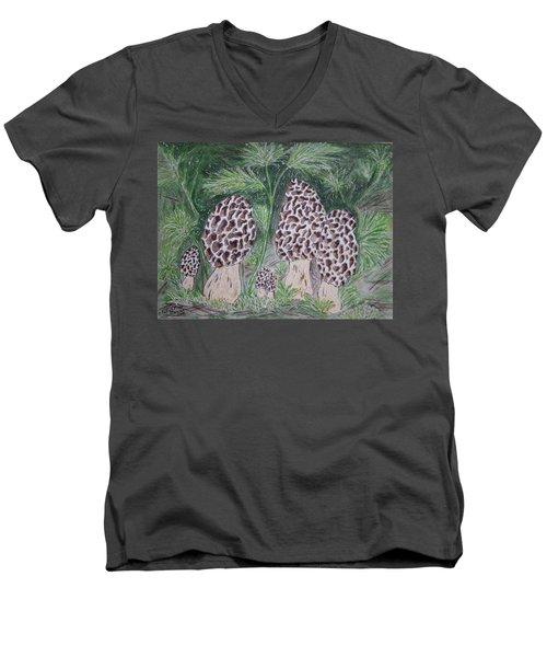 Morel Mushrooms Men's V-Neck T-Shirt by Kathy Marrs Chandler