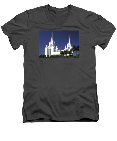 Mormon Temple Men's V-Neck T-Shirt by Paul W Faust -  Impressions of Light