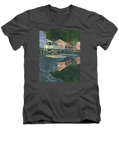 Morning At Telegraph Cove Men's V-Neck T-Shirt by Gary Giacomelli