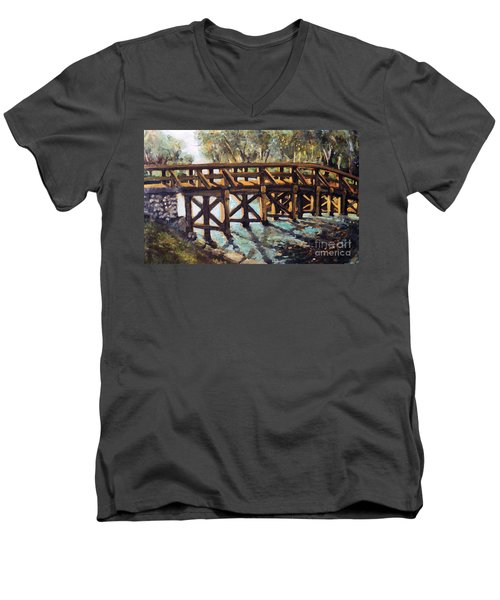 Morning At The Old North Bridge Men's V-Neck T-Shirt by Rita Brown