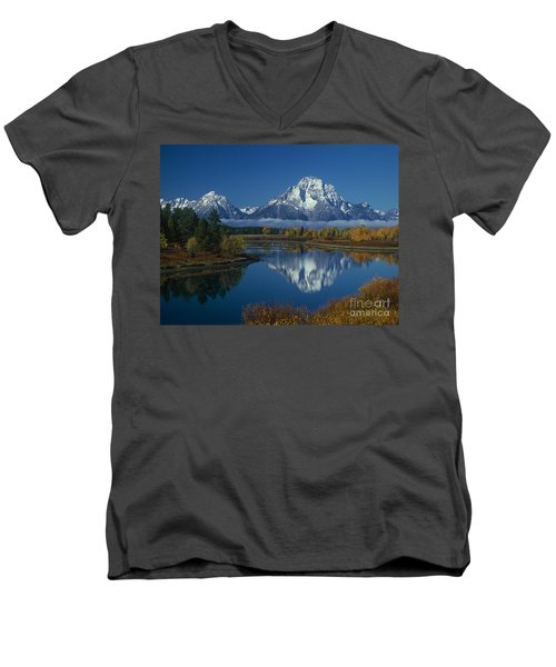 Morning Cloud Layer Oxbow Bend In Fall Grand Tetons National Park Wyoming Men's V-Neck T-Shirt by Dave Welling