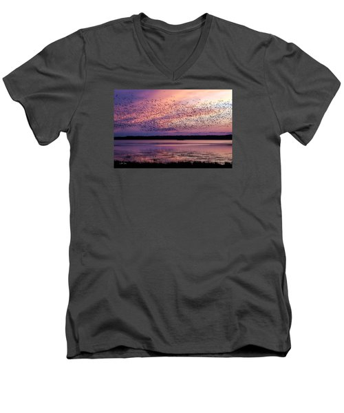 Men's V-Neck T-Shirt featuring the photograph Morning Commute by Joan Davis