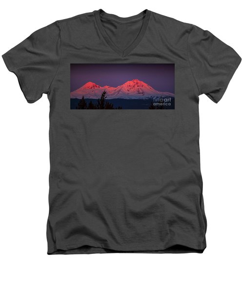 Morning Dawn On Two Of Three Sisters Mountain Tops In Oregon Men's V-Neck T-Shirt