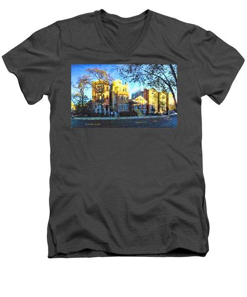 Morning In Bucktown Men's V-Neck T-Shirt by Dave Luebbert
