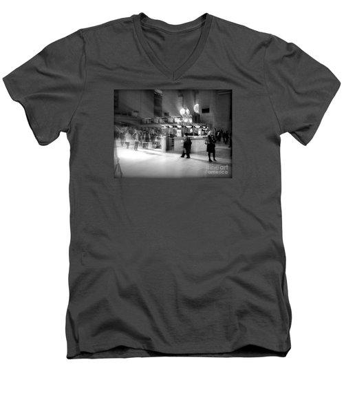 Morning In Grand Central Men's V-Neck T-Shirt by Miriam Danar