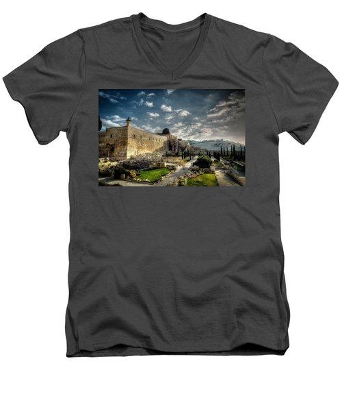 Morning In Jerusalem Hdr Men's V-Neck T-Shirt