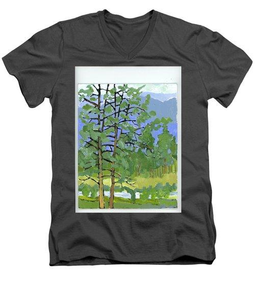 Morning In The Hills Men's V-Neck T-Shirt