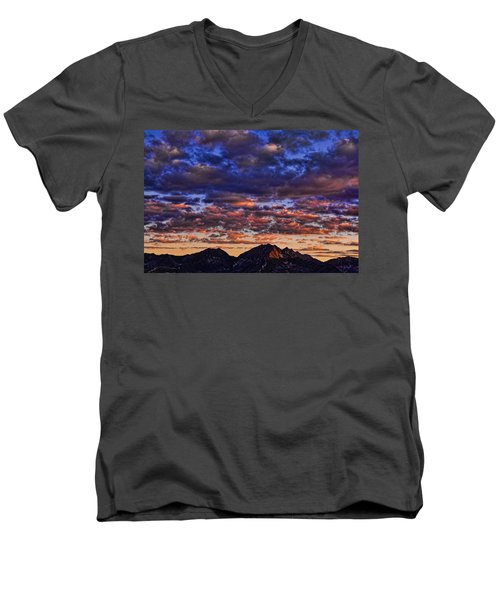Morning In The Mountains Men's V-Neck T-Shirt by Don Schwartz