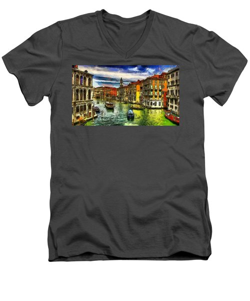 Men's V-Neck T-Shirt featuring the painting Beautiful Morning In Venice, Italy by Georgi Dimitrov