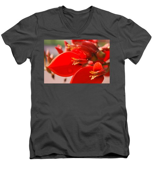 Men's V-Neck T-Shirt featuring the photograph Morning Jog by Miguel Winterpacht