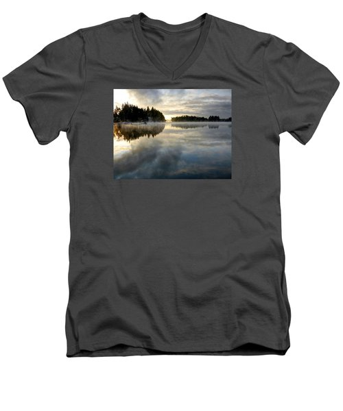 Morning Lake Reflection Men's V-Neck T-Shirt by Peter Mooyman