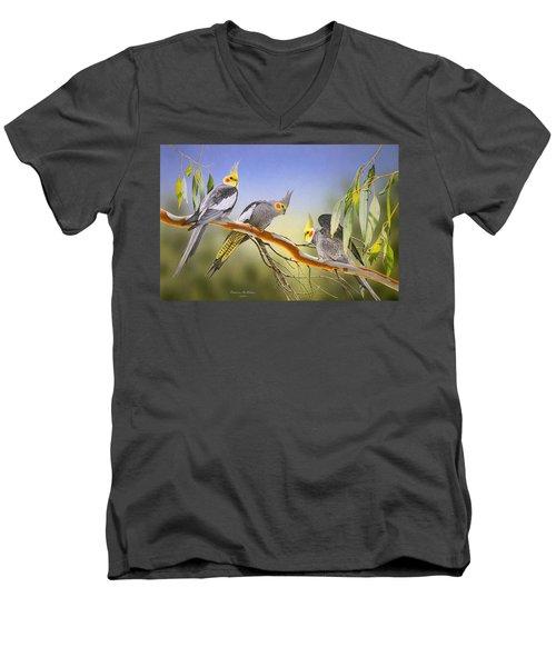 Morning Light - Cockatiels Men's V-Neck T-Shirt