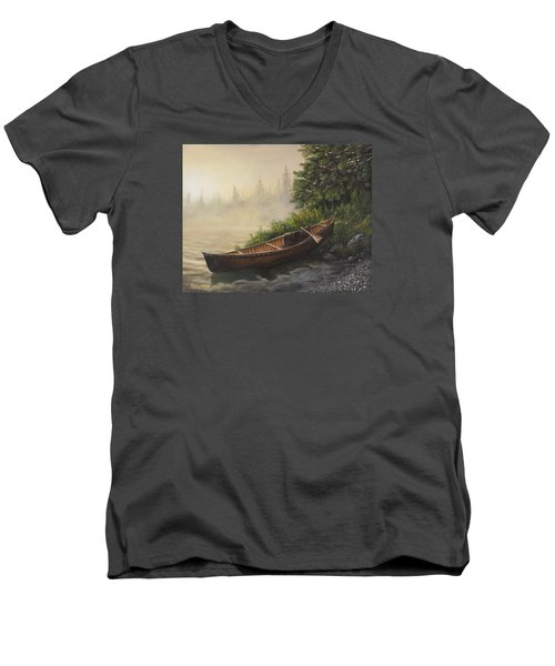 Men's V-Neck T-Shirt featuring the painting Morning Mist by Kim Lockman
