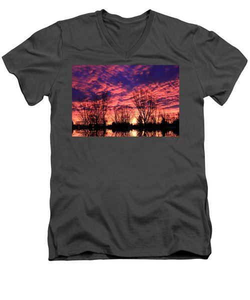 Men's V-Neck T-Shirt featuring the photograph Morning Reflection by Shane Bechler