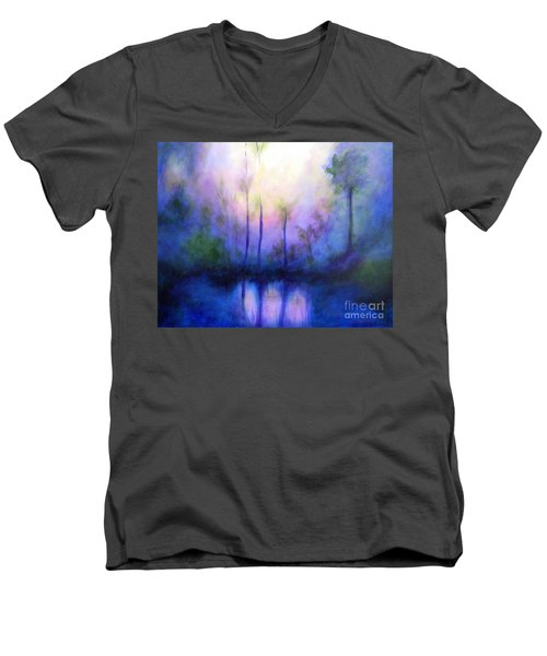 Men's V-Neck T-Shirt featuring the painting Morning Symphony by Alison Caltrider