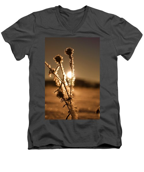 Men's V-Neck T-Shirt featuring the photograph Morning Walk by Miguel Winterpacht
