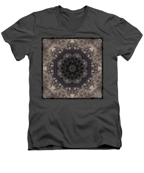 Mosaic Tile / Gray Tones Men's V-Neck T-Shirt