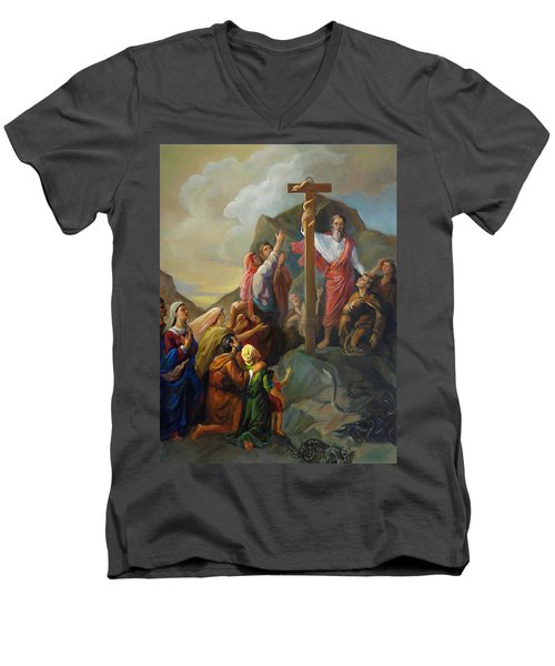 Moses And The Brazen Serpent - Biblical Stories Men's V-Neck T-Shirt
