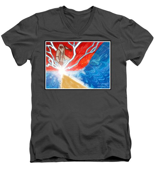 Men's V-Neck T-Shirt featuring the painting Moses by Justin Moore