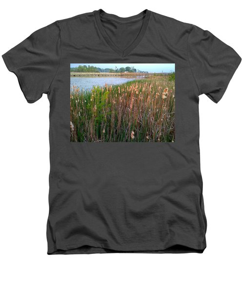 Moss Landing Washington North Carolina Men's V-Neck T-Shirt