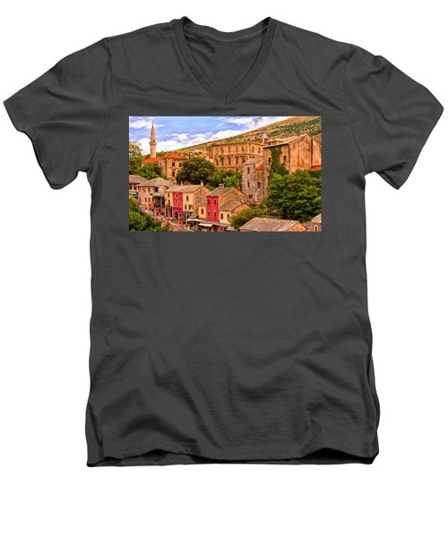 Mostar Men's V-Neck T-Shirt by Michael Pickett