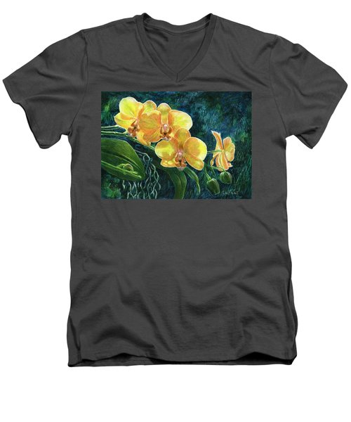 Men's V-Neck T-Shirt featuring the drawing Moth Orchids by Sandra LaFaut