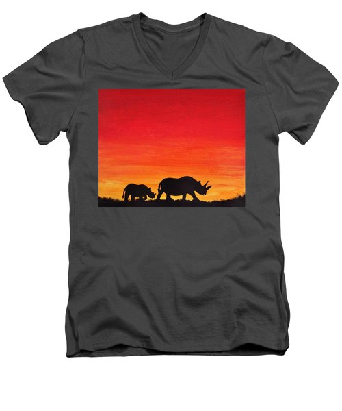 Men's V-Neck T-Shirt featuring the painting Mother Africa 5 by Michael Cross