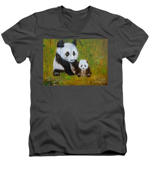 Men's V-Neck T-Shirt featuring the painting Mother And Baby Panda by Jenny Lee