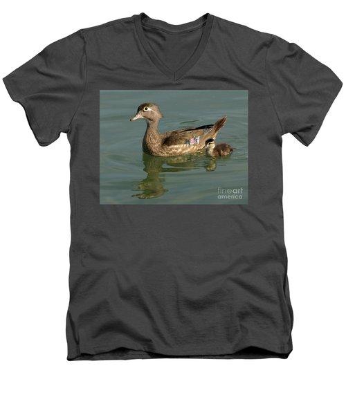 Mother And Child Men's V-Neck T-Shirt by Liz Masoner