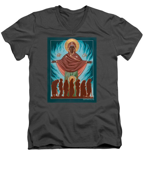 Mother Of Sacred Activism With Eichenberg's Christ Of The Breadline Men's V-Neck T-Shirt by William Hart McNichols