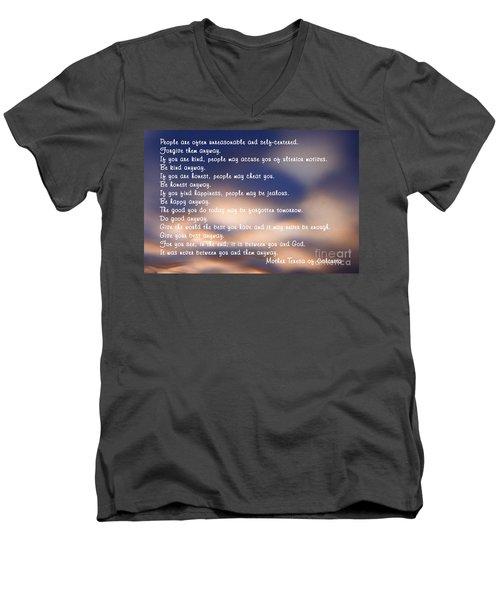 Mother Teresa Of Calcutta Men's V-Neck T-Shirt by Sharon Elliott