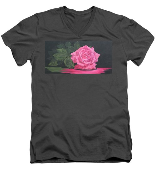 Men's V-Neck T-Shirt featuring the painting Mothers Day Rose by Wendy Shoults