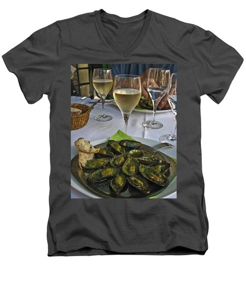 Men's V-Neck T-Shirt featuring the photograph Moules And Chardonnay by Allen Sheffield