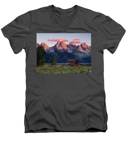 Men's V-Neck T-Shirt featuring the photograph Moulton Barn by Leland D Howard