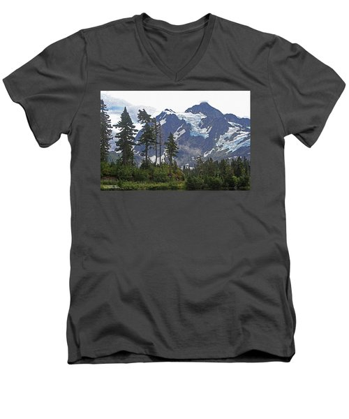 Mount Baker And Fir Trees And Glaciers And Fog Men's V-Neck T-Shirt by Tom Janca