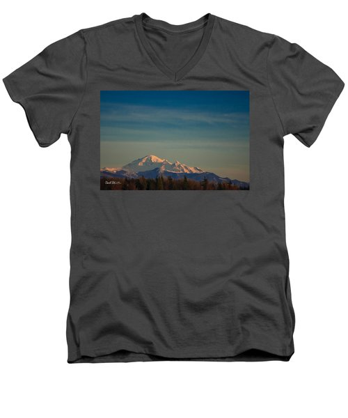 Mount Baker Sunset Men's V-Neck T-Shirt by Charlie Duncan