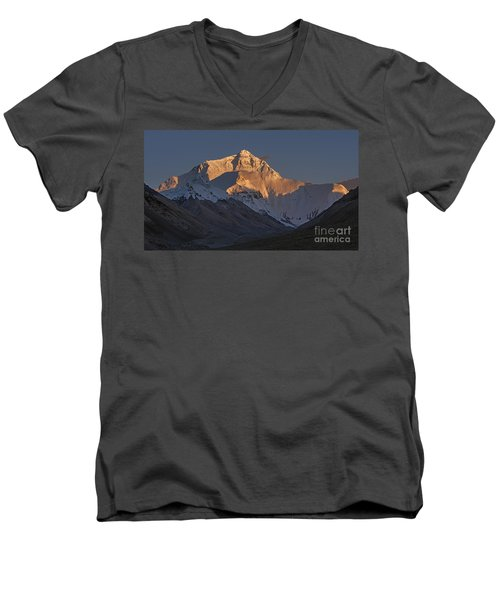 Mount Everest At Dusk Men's V-Neck T-Shirt by Hitendra SINKAR