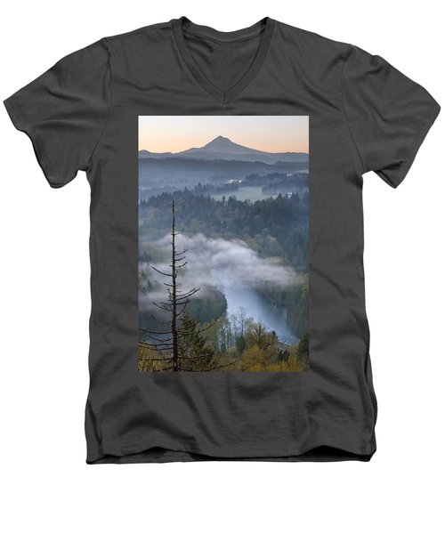 Men's V-Neck T-Shirt featuring the photograph Mount Hood And Sandy River At Sunrise by JPLDesigns