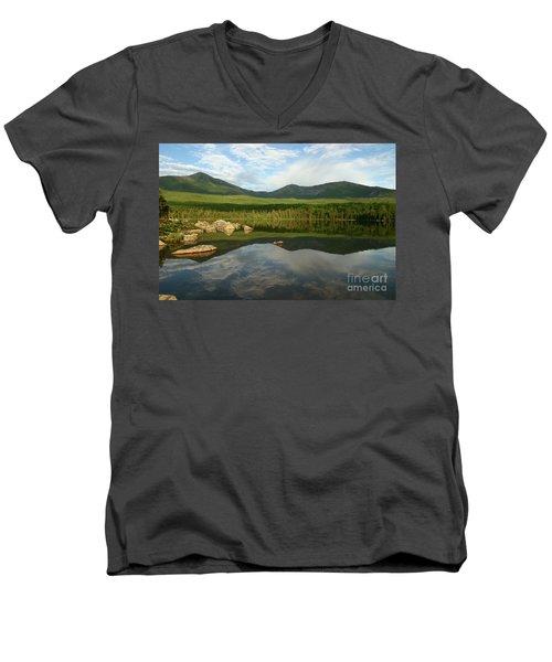 Mount Katahdin Men's V-Neck T-Shirt by Jeannette Hunt