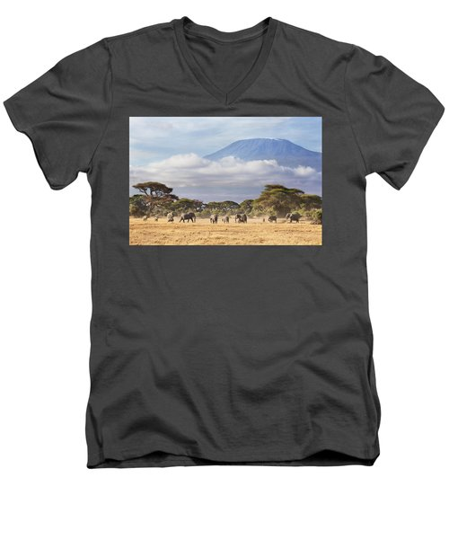 Mount Kilimanjaro Amboseli  Men's V-Neck T-Shirt