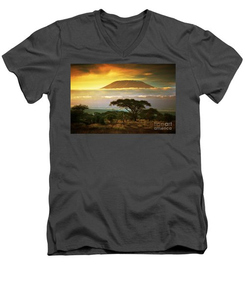 Mount Kilimanjaro Savanna In Amboseli Kenya Men's V-Neck T-Shirt by Michal Bednarek