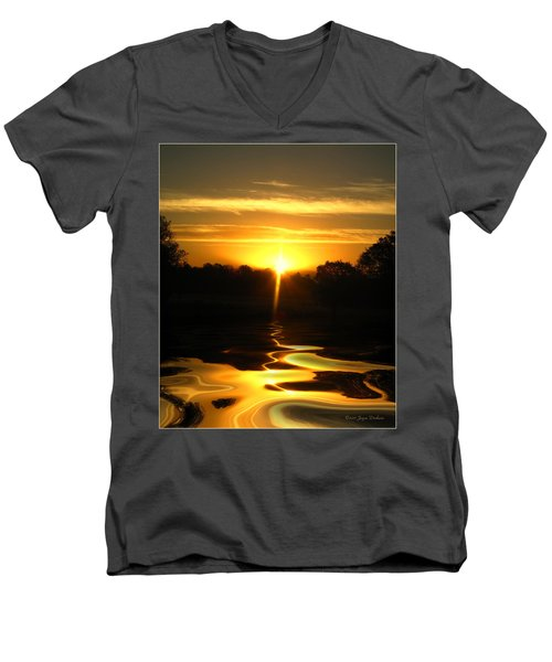 Mount Lassen Sunrise Gold Men's V-Neck T-Shirt by Joyce Dickens